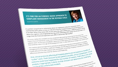 It's Time for an Evidence-based Approach to Complaint Management in the Revenue Cycle